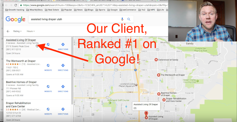 our client ranked #1 on Google for assisted living draper utah