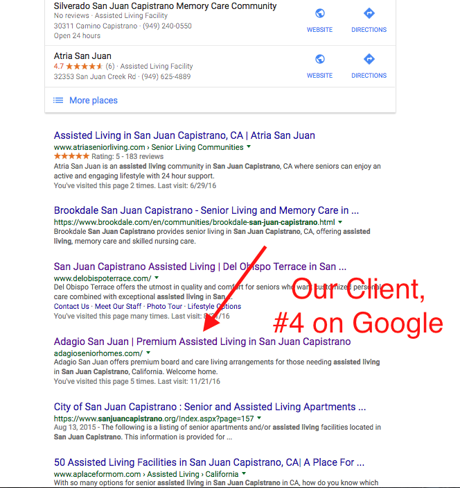 assisted living marketing first page of google
